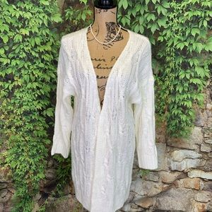 NWT EN CREME Cable Knit Cardigan Duster, M